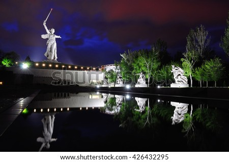 Memorial Motherland on Mamaev Hill at evening - stock photo