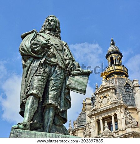 Memorial of a Flemish artist of 17 century David Teniers The Younger in Antwerp - stock photo