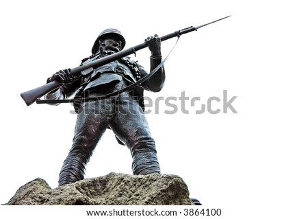 memorial statue of soldier in Belfast, Northern Ireland - stock photo