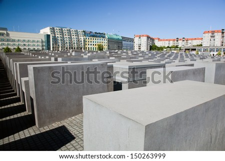 Memorial to the Murdered Jews of Europe. The Holocaust Memorial in Berlin, Germany - stock photo