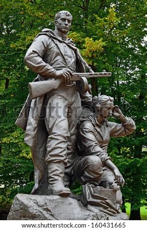 Memorial to Warrior -?? scout. Victory Park, Kaliningrad (before 1946 Koenigsberg), Russia - stock photo