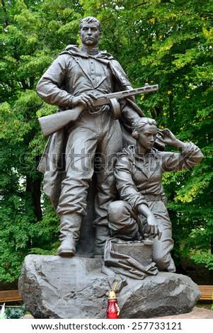 Memorial to Warrior - scout. Victory Park, Kaliningrad (before Koenigsberg), Russia - stock photo