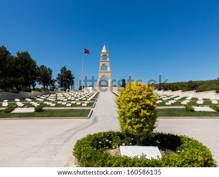Memorials to all the fallen soldiers and sailors from Allied forces that fought in Gallipoli campaign in First World War - stock photo