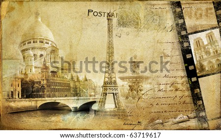 memories about Paris.. vintage photoalbum series - stock photo