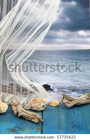 Memories of the Mediterranean Sea, still life with seashells and photo sea photo on background - stock photo