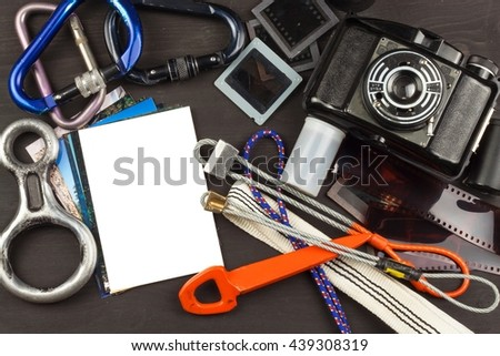 Memories of the way through the mountains. The old camera. Memories of on climbing. Family album photos. Memories of youth. Greetings from mountains. Equipment artistic photographer. - stock photo