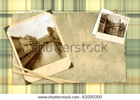 Memories. Old book and photos - stock photo