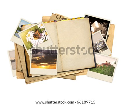 Memories - old dairy and photos. Objects isolated over white - stock photo