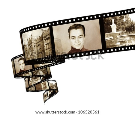 Memories - retro photo with filmstrip - stock photo