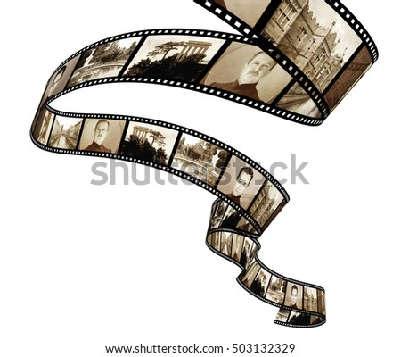 Memories - retro photo with filmstrip. Isolated on white background. 3d render