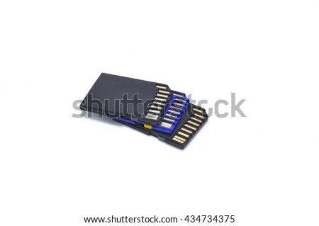 Memory card close up on a white background
