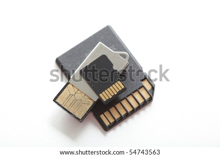 Memory Cards and Adapters - stock photo