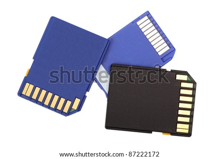 Memory Cards. Isolated with clipping path. - stock photo