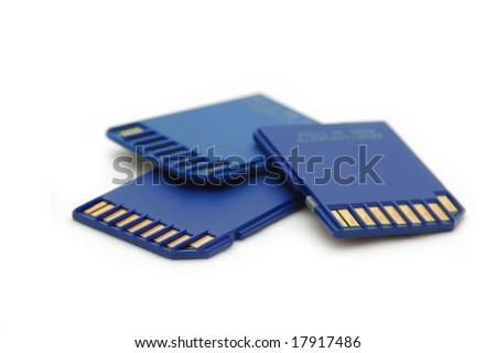 memory cards on white background - stock photo