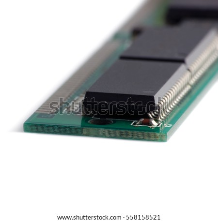 Memory Chip Macro Closeup, Green Isolated Detailed