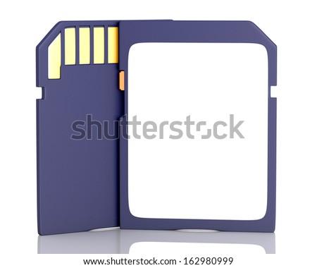 Memory flash card isolated on white background. 3d illustration - stock photo