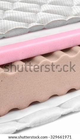 Memory foam - latex mattress cross section - hi quality modern - stock photo