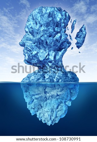Memory loss due to Dementia and Alzheimer's disease with the medical icon of a frozen glacier iceberg in the shape of a human head and brain losing pieces of ice as thoughts and mind function. - stock photo