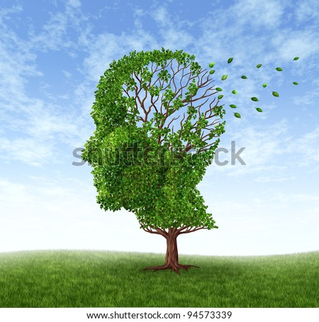 Memory loss due to Dementia and Alzheimer's disease with  the medical icon of a tree in the shape of a human head and brain losing leaves as thoughts and mind function.