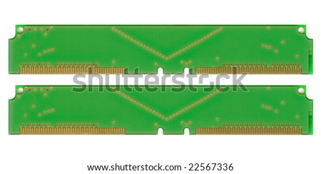 Memory module on motherboard. - stock photo