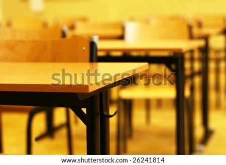 Memory of school classroom soft focus - stock photo