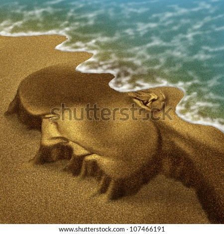 Memory problems due to Dementia and Alzheimer's disease as a medical health care aging concept with a head and brain sculpted from sand on the beach with the ocean washing it away with the tide. - stock photo
