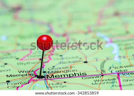 Memphis pinned on a map of USA  - stock photo
