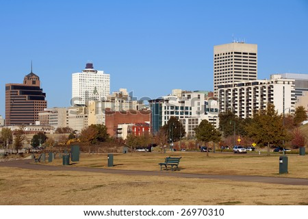 Memphis skyline from Tom Lee park, Tennessee - stock photo