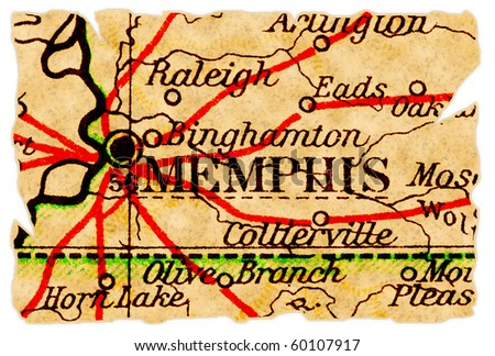Memphis, Tennessee on an old torn map from 1949, isolated. Part of the old map series.