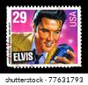 Memphis, Tennessee, USA - January 8, 1993: This commemorative postage stamp features an illustration of Elvis Presley holding a microphone. Elvis Aaron Presley: January 8, 1935 - August 16, 1977 - stock photo