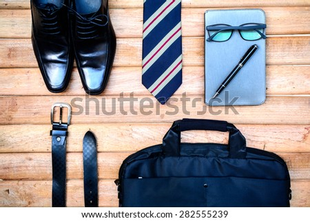 men accessories on old wooden background, Business themes - stock photo