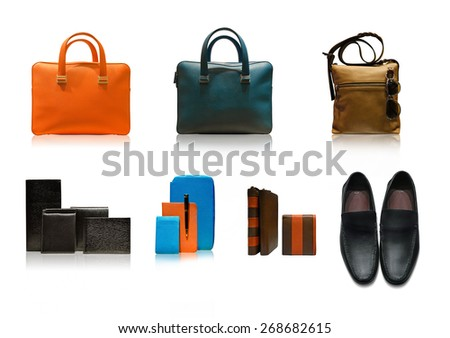 men accessories on white background - stock photo