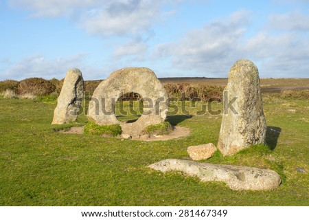Men-an-Tol megalithic stones in Cornwall, England. - stock photo