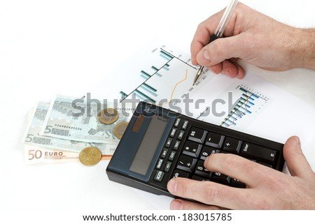 men analyzing business graph with glasses in the background, business collage - stock photo