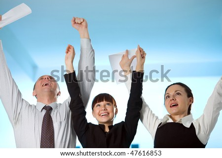 Men and cheerful girl with cheerful women - stock photo