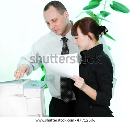 Men and girl with paper - stock photo