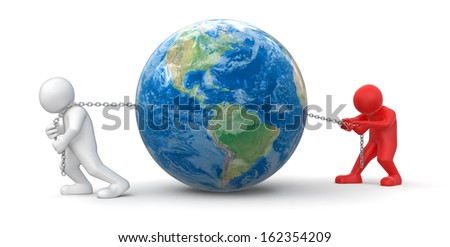 Men and Globe (clipping path included). Earth map provided by NASA - stock photo