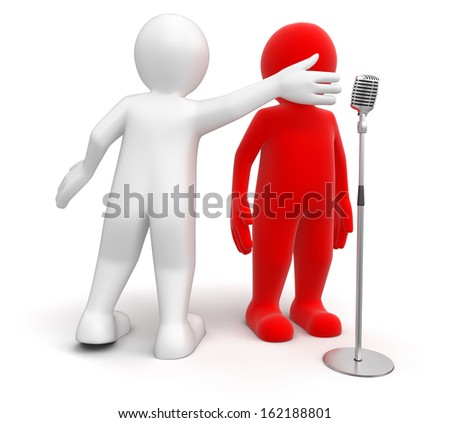 Men and Microphone (clipping path included) - stock photo