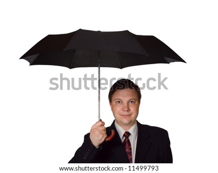 Men and umbrella, isolated on white background - stock photo