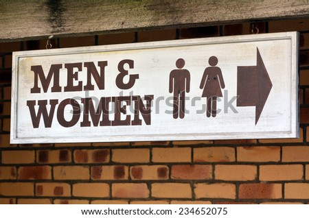 Men and Womae toilet sign and symbol, concept photo . copy space - stock photo