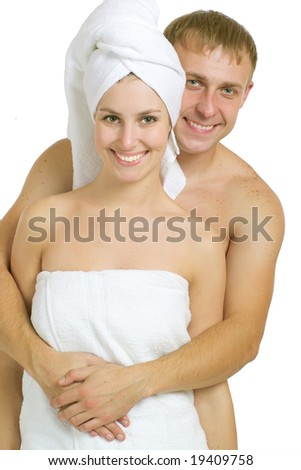 Men and women after taking baths. On a white background.