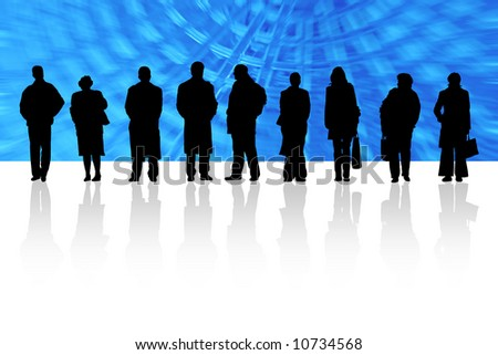 Men and women are waiting - stock photo