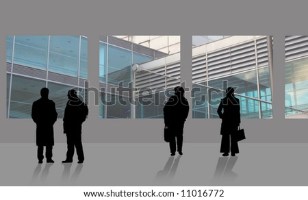 Men and women are waiting on airport - stock photo