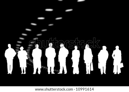 Men and women are waiting on black background - stock photo