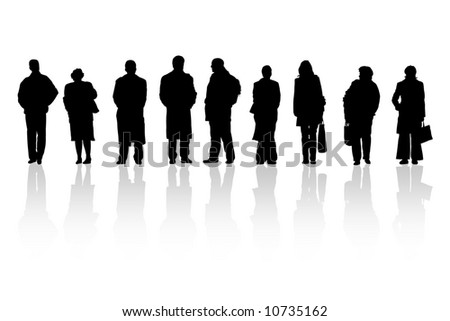 Men and women are waiting on white background - stock photo