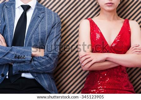Men and women couple to quarrel - stock photo