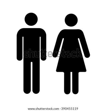 Men and women silhouette, black simple icons isolated on white - stock photo