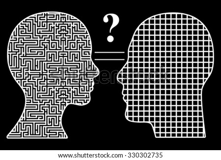 Men and Women think differently. Humorous concept sign of male simplicity and female complexity leading to a big question mark for both of them - stock photo