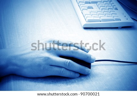 Men are operating the computer, close-up hand. - stock photo