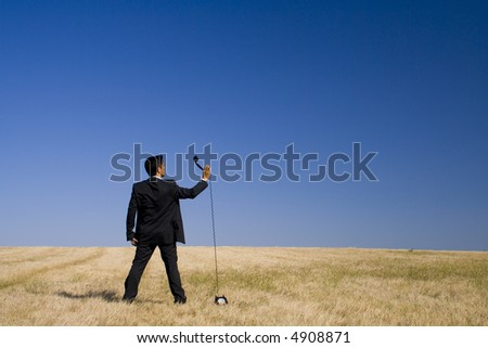 men asking God for an advise, how to live in peace with nature - stock photo